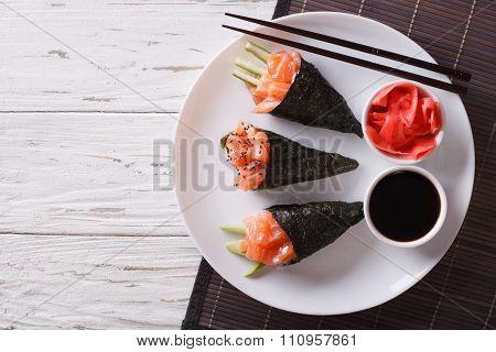 Japanese Food: Salmon Temaki, Ginger And Sauce. Horizontal Top View