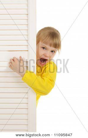 Malicious girl in yellow jacket