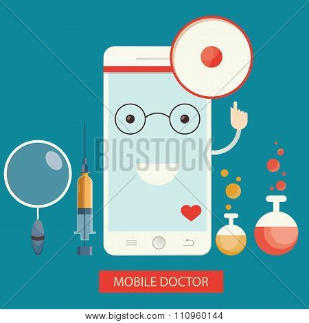 Moden Vector Illustration Of Mobile Healthcare Services,  Online Doctor
