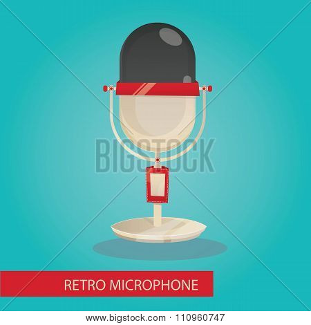 Modern vector illustration of retro microphone on blue