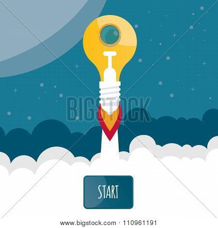 Modern Vector Illustration Of A Start Up Bulb.