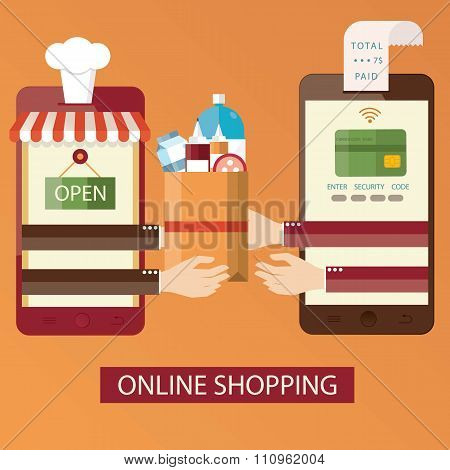 Vector Illustration Of Online Shopping, Online Food Delivery