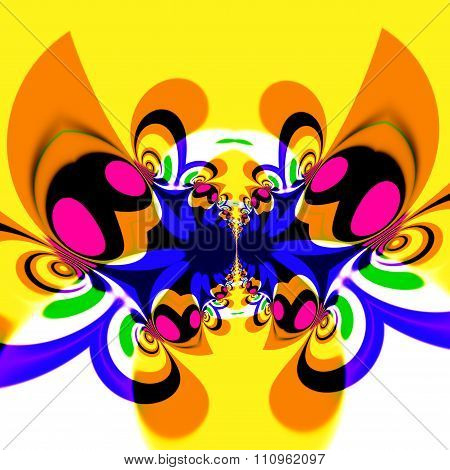 Colorful psychedelic butterfly in flight. Cool modern art style. Weird fly or insect.