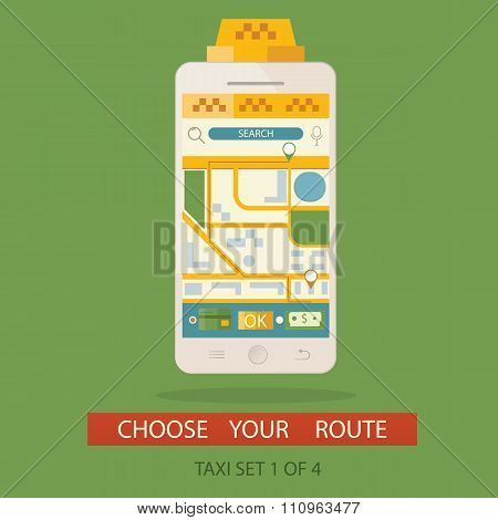 Vector Illustration Of Concept Process Booking Taxi And Creating Route Via Mobile Application. Pictu