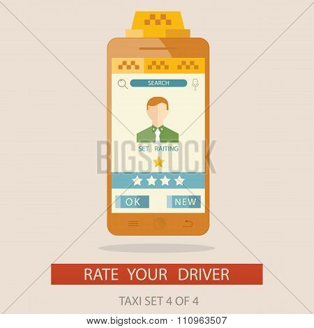 Vector Illustratuion Of Rating Taxi Driver Via Mobile App