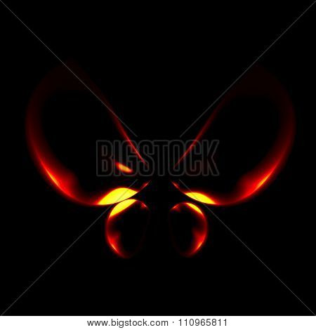Abstract glowing wings. Smooth bug shape. Made in full frame. Wings in warm tone. Symbol in 3d.