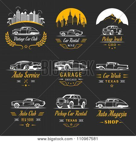 Vector Set Of Vintage Car Badges And Sign