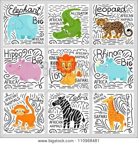 African animals set vector background