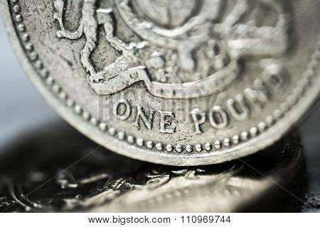 Pound Symbol, One Pound Coin, British Currency.