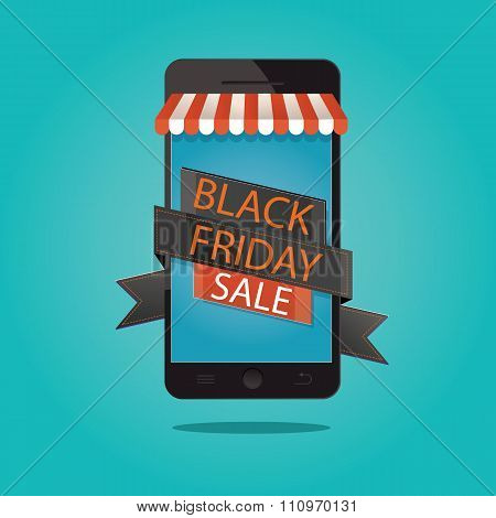 Modern Vector Illustration Of Black Friday Sale, Online Store