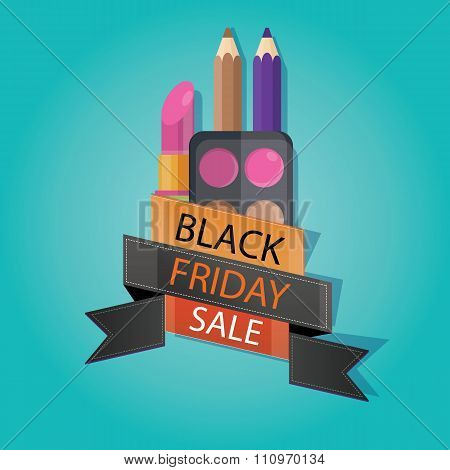 Modern Vector Illustration Of Black Friday Sale, Cosmetic Store, Lipstick, Eyeliner
