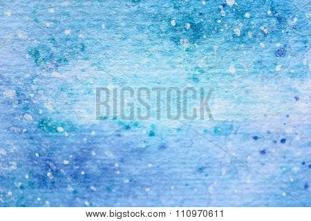 Snow Watercolor on Blue Background 2