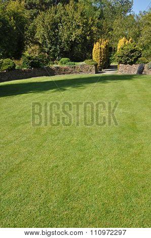 Beautiful lawn in an English style garden. Taken near Torrington North Devon England