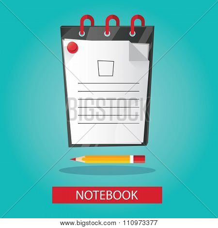 Modern Vector Illustration Of Brightness Notebook With Pencil On Colorful Background
