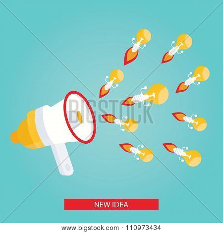 Modern Vector Illustration Of New Idea, Megaphone With Bulb
