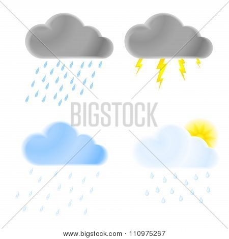 Set Of Vector Icons Of Thunder Clouds With Rain, Heavy Rain, Lightning And Clouds With Drizzle And L
