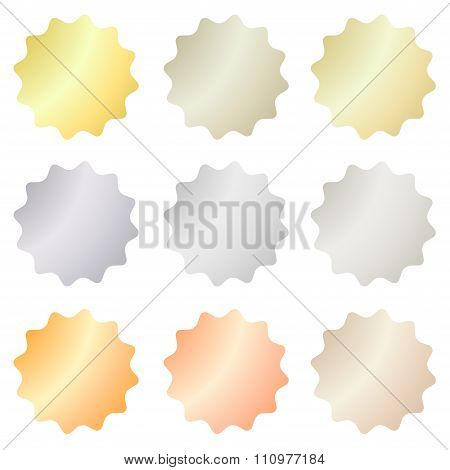 Empty Set Of Vector Labels That Can Be Used As A Seal, The Price Tag Or Badge With Different Types O