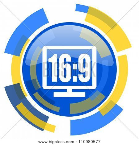 16 9 display blue yellow glossy web icon