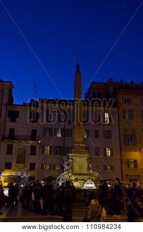 People At Night In Piazza Della Rotonda In Rome