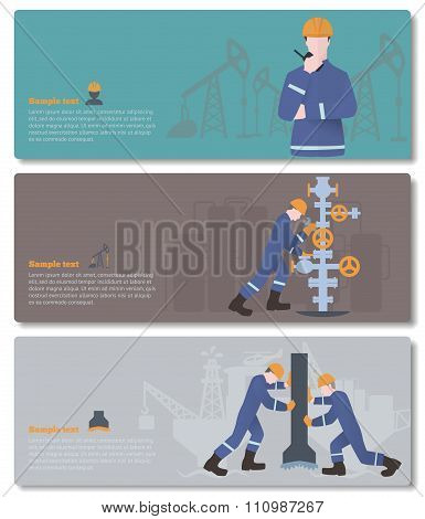 oilman, gasman or oil and gas industry worker on production vect
