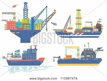 Oil platform, drillship, oil and gas barge, icebreaker vector il