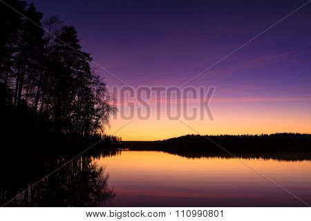 Serene view of calm lake at twilight