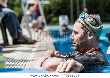Freediver Waiting With Patience The Result Given By The Judge After Static Performance.