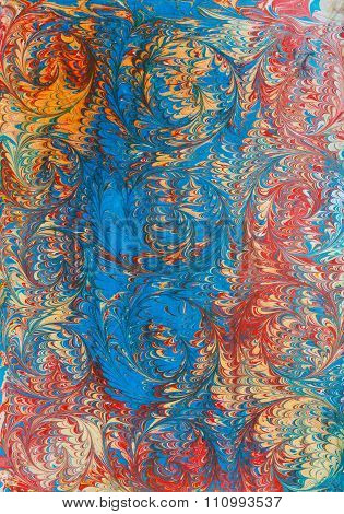 Ebru Paper Red And Blue Waves