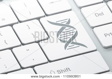 Science concept: DNA on computer keyboard background