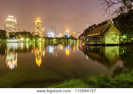 Night Light From Public Park In Bangkok Thailand