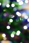 christmas tree with decorations (christmas balls and decorative lights) poster