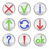Silver web buttons: cross, check mark, information, uploading, connection, downloading, question, exclamation mark, ok. Vector illustration. poster