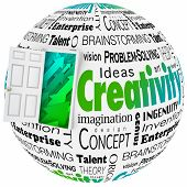 Creativity word in a collage with open door to arrows symbolizing growth, including brainstorming, innovaiton, invention, vision and problem-solving poster