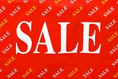"""""""sale"""" inscriptions on a red flag-useful as a seasonal discount poster for different products. poster"""