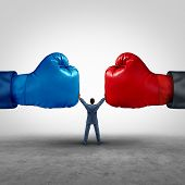 Mediate and legal mediation business concept as a businessman or person separating two boxing glove opposing competitors as an arbitration success symbol for finding common interests to lawfully solve a conflict. poster