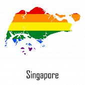 Vector rainbow map of Singapore in colors of LGBT - lesbian gay bisexual and transgender - pride flag. In eps format. poster