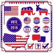 Set of voting and election elements and icons.  Includes Republican and Democrat icons, U.S. flag, vote pins, vote check marks, undecided voter icon, and frame.  Colors are global.  All elements are separate, and file is layered for easy editing. poster