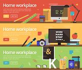 Workplace illustration for web and promotional materials. Education and youth interest icons set. poster