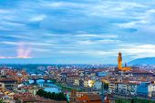 River Arno with bridge Ponte Vecchio and Palazzo Vecchio at sunset from Piazzale Michelangelo in Florence, Tuscany, Italy poster