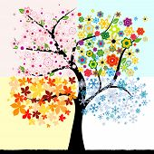 abstract colorful four season tree with leaves, flowers and snowflakes poster