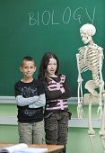 happy children in school classrom taking notes and learning biology and anatomy lessons with teacher poster