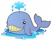 Big cartoon whale on surface - vector illustration. poster