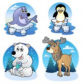 Various cute winter animals outdoors - vector illustration. poster