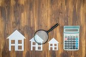 buy house Mortgage calculations calculator with Magnifier Searching poster