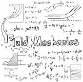 Mechanic of Fluid law theory and physics mathematical formula equation doodle handwriting icon in white isolated background with hand drawn model create by vector poster