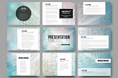 Set of 9 vector templates for presentation slides. Abstract vector background of digital technologies, cyber space. poster