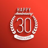 Thirty years anniversary celebration logotype. 30th anniversary logo. Vector illustration. poster