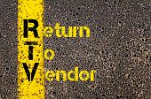 Concept image of Accounting Business Acronym RTV Return To Vendor written over road marking yellow paint line. poster