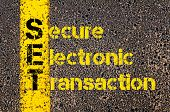 Concept image of Accounting Business Acronym SET Secure Electronic Transaction written over road marking yellow paint line. poster