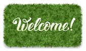 Welcome. Doormat of the green grass with calligraphic inscription Welcome. Isolated on white background. Vector illustration. poster